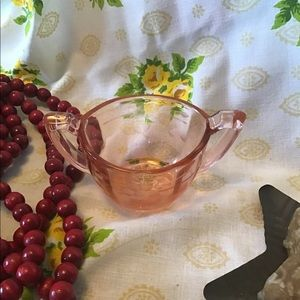 Vintage Pink Depression Glass Sugar Bowl Etched